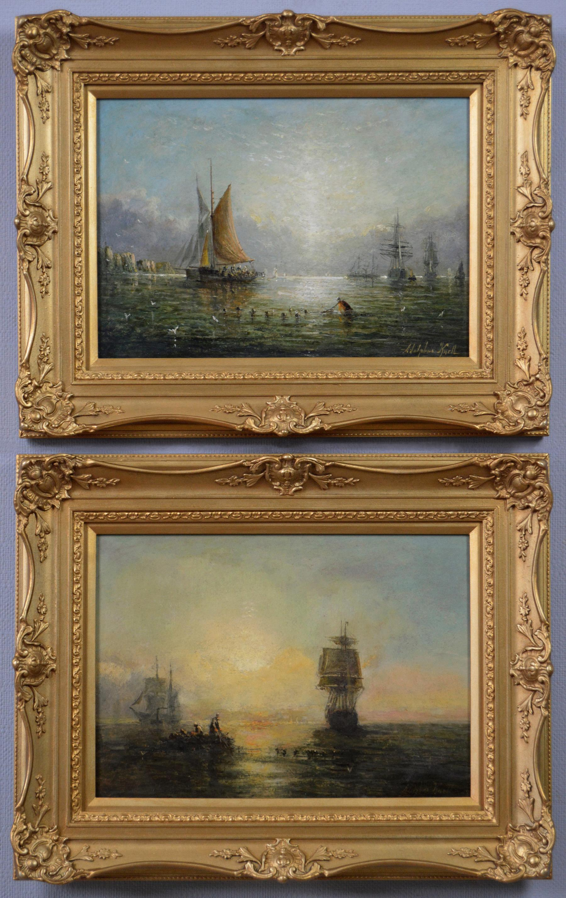 Pair of 19th Century seascape oil paintings of ships & fishing boats