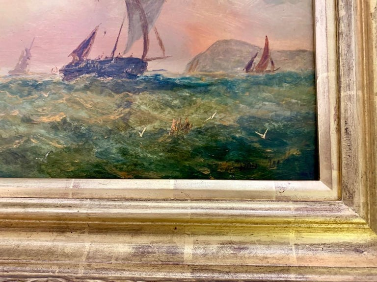 Victorian 19th century English sailing yacht off the English coast - Painting by Adolphus Knell