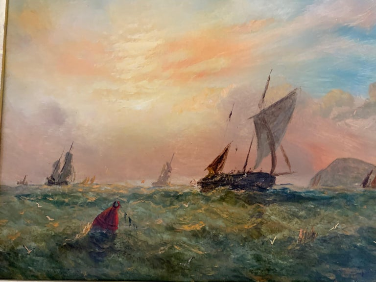 English 19th century Victorian Sailing scene, with fishing vessels off of a landscape.  Outstanding Victorian marine scene of a yacht at sail possible in the English Channel. Knell was a superb painter of marine subjects during the middle of the