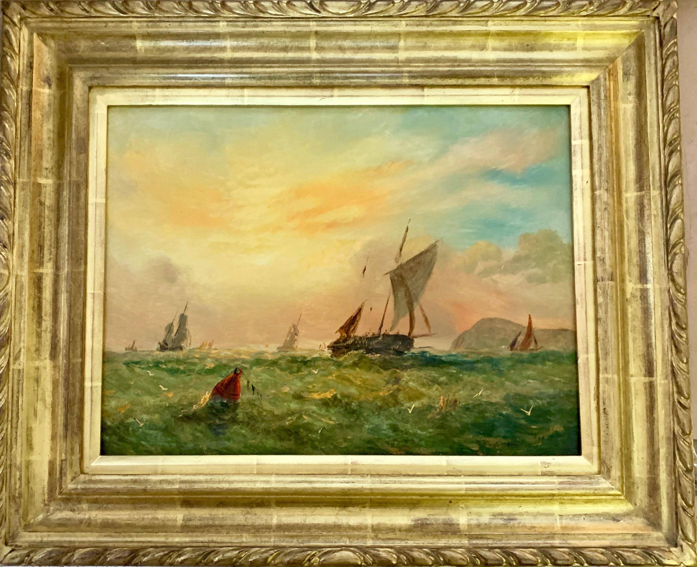 Victorian 19th century English sailing yacht off the English coast