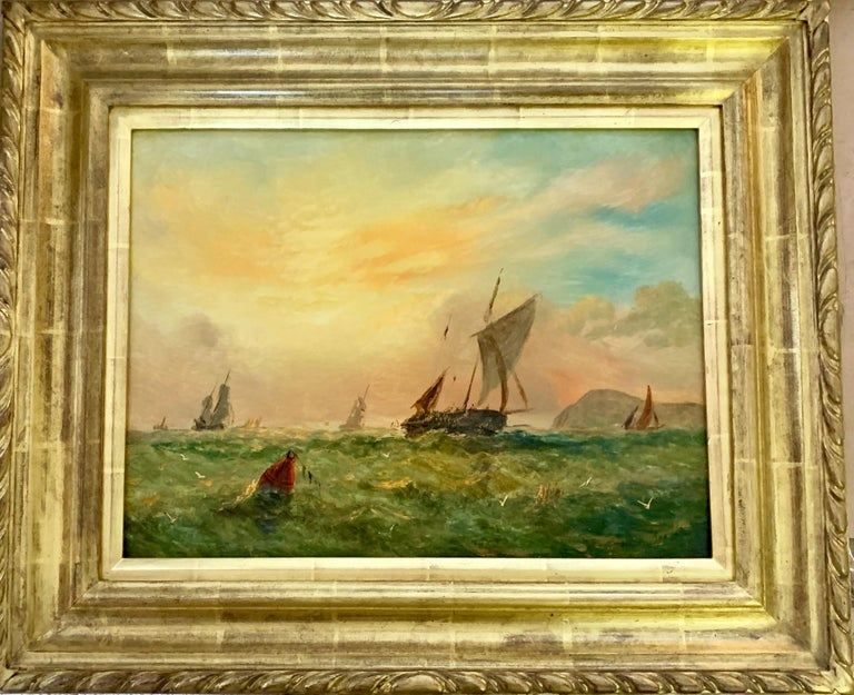 Adolphus Knell Figurative Painting - Victorian 19th century English sailing yacht off the English coast