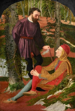 Touchstone and Corin, British Pre-Raphaelite 19th Century Oil on Canvas