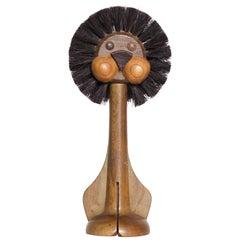 Adorable 1960s Teak Lion Brush Toy by Gunnar Florning Laurids Lonborg, Denmark