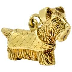 Adorable Art Nouveau 14 Karat Gold German Scottish Terrier Dog Charm