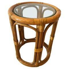 Adorable Chic Little Round Bamboo Rattan Drinks Table