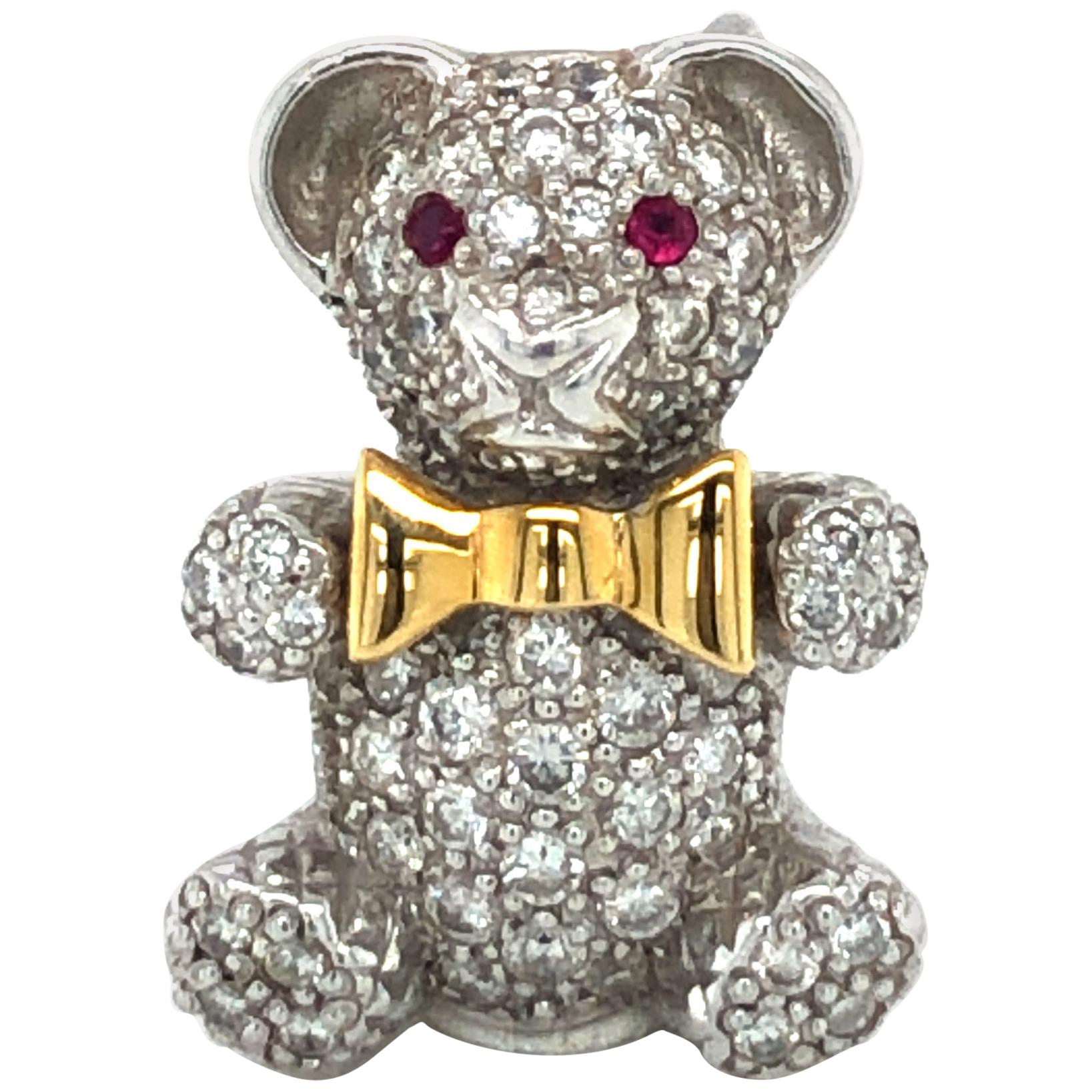 Adorable Diamond Teddy Bear in 18 Karat White Gold and Yellow Gold