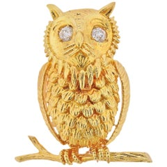 Adorable Diamond Yellow Gold Owl Brooch