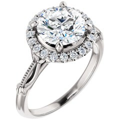 Adorable Filigree Halo Style Diamond Accented GIA Certified Engagement Ring