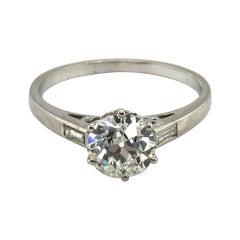 Adorable Old European Cut Diamond Set in an Antique Platinum Ring