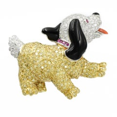 Adorable Onyx Ruby Yellow Diamond Platinum Cocker Spaniel Brooch