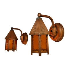 Adorable Pair of 1940s Outdoor Copper Sconces