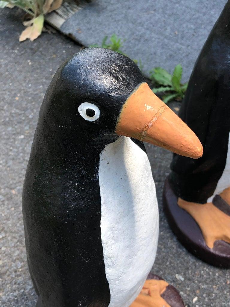 American Adorable Pair of Cast Cement Garden Penguins For Sale