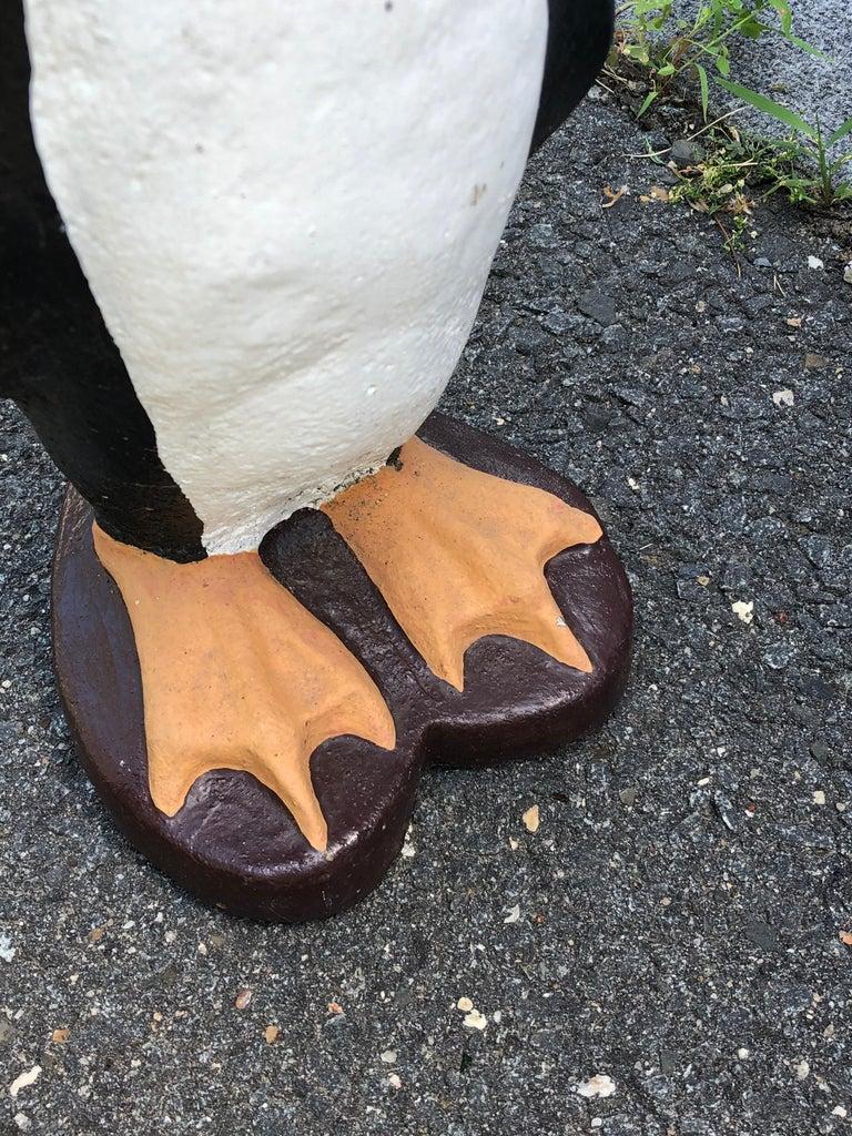 Mid-20th Century Adorable Pair of Cast Cement Garden Penguins For Sale