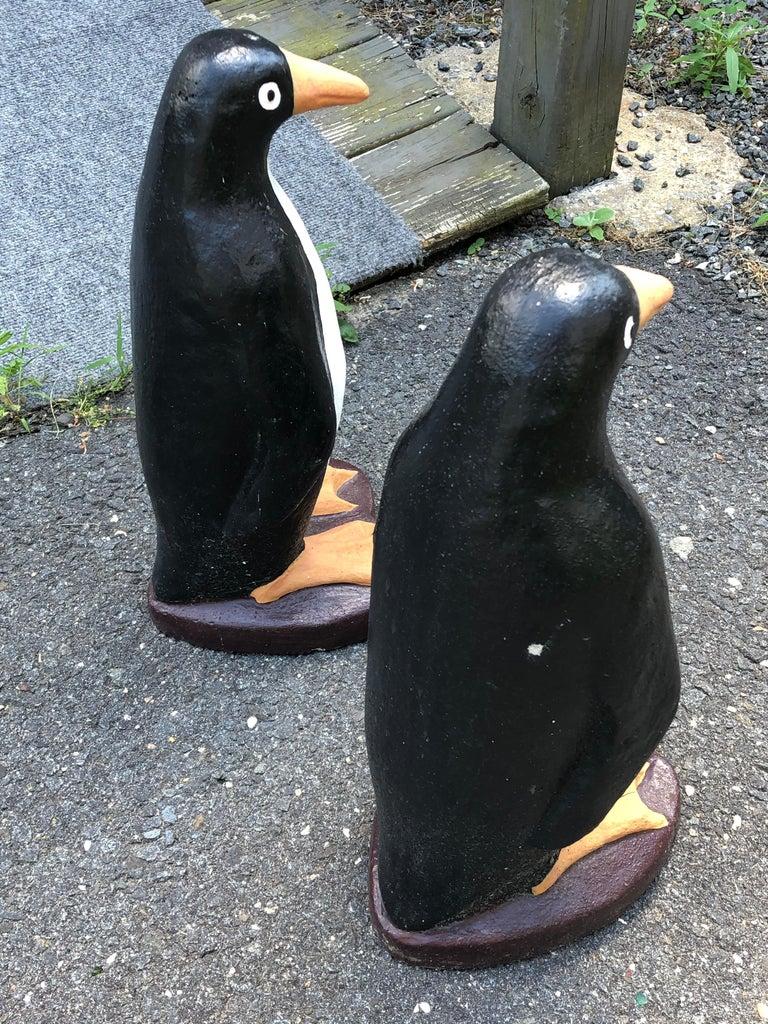 Adorable Pair of Cast Cement Garden Penguins For Sale 1