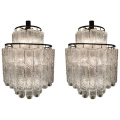 Adorable Pair of Murano Venini Style Chandeliers, 1970s