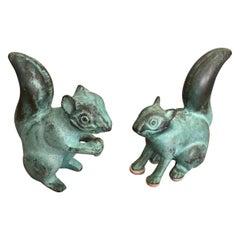 Adorable Pair of Squirrel Sculptures with Beautiful Verdigris Patina