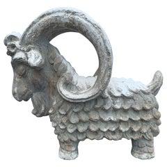 Adorable Terracotta Sculpture of Billy Goat Ram