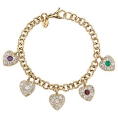 """ADORE"" Yellow Gold Link Diamond and Gemstone Heart Charm Bracelet"