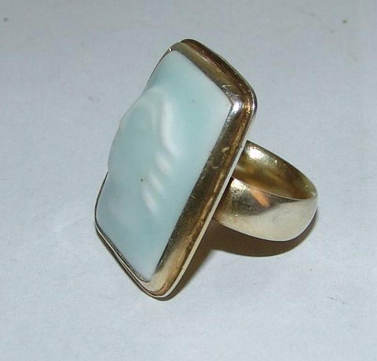 A.Dragsted Royal Copenhagen Jais Nielsen Gilded Sterling Silver ring. Ring size 54. Weighs 12,6 g / 0,44 oz
