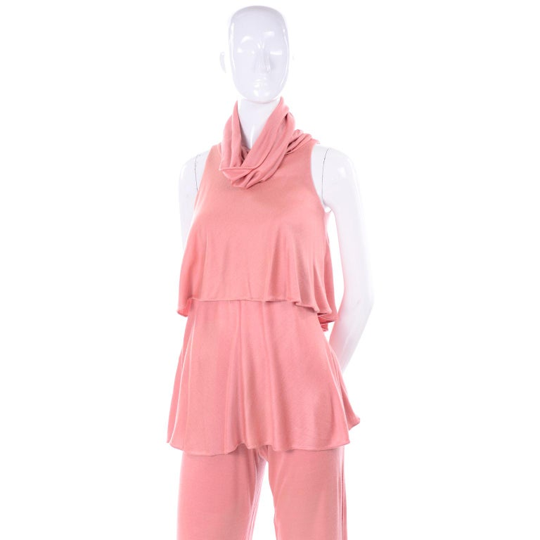 Adri Mary Adrienne Steckling Coen Vintage Coral Pink Outfit W Pants Top & Scarf For Sale 6