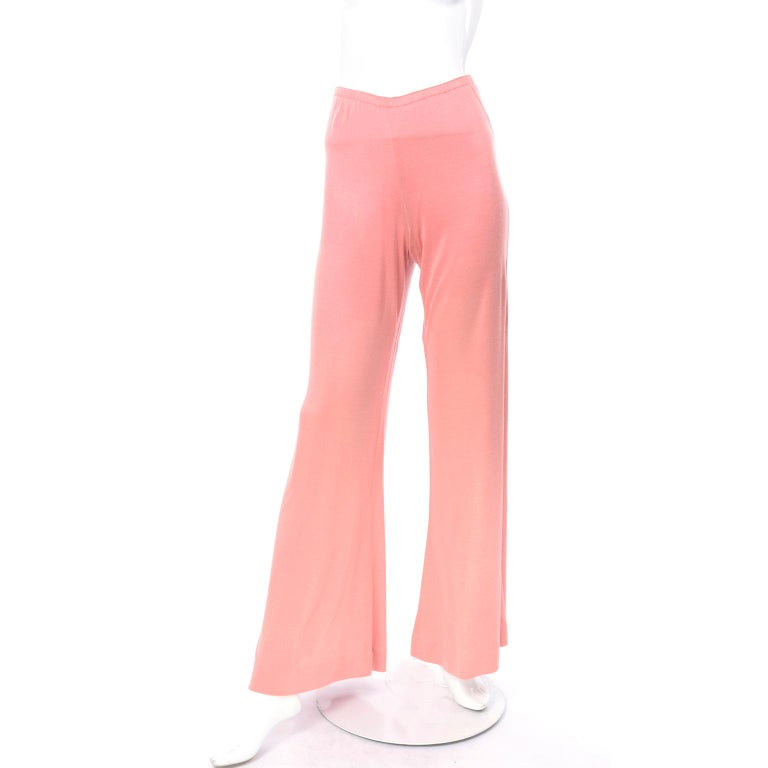 Adri Mary Adrienne Steckling Coen Vintage Coral Pink Outfit W Pants Top & Scarf For Sale 8