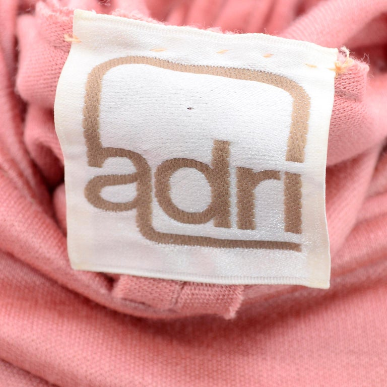 Adri Mary Adrienne Steckling Coen Vintage Coral Pink Outfit W Pants Top & Scarf For Sale 10