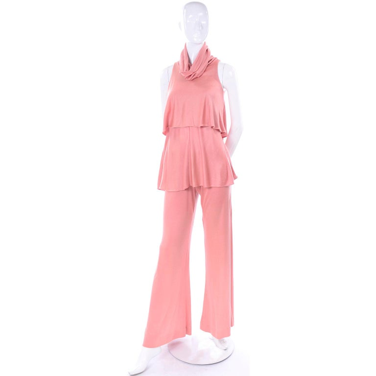 Adri Mary Adrienne Steckling Coen Vintage Coral Pink Outfit W Pants Top & Scarf In Excellent Condition For Sale In Portland, OR