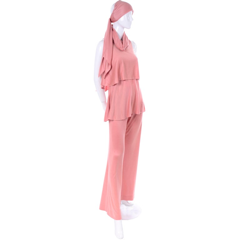 Women's Adri Mary Adrienne Steckling Coen Vintage Coral Pink Outfit W Pants Top & Scarf For Sale