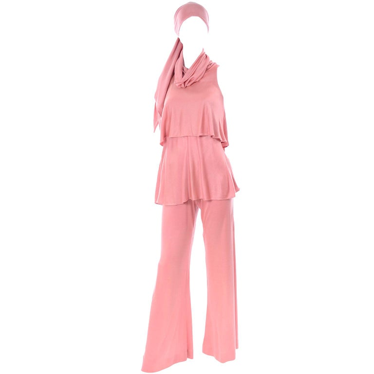 Adri Mary Adrienne Steckling Coen Vintage Coral Pink Outfit W Pants Top & Scarf For Sale 1