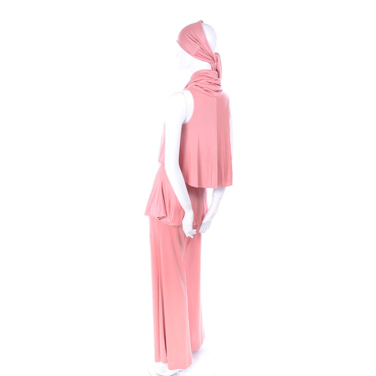 Adri Mary Adrienne Steckling Coen Vintage Coral Pink Outfit W Pants Top & Scarf For Sale 2