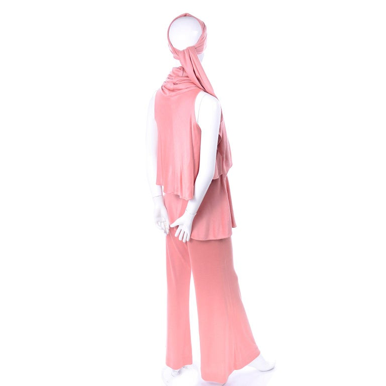 Adri Mary Adrienne Steckling Coen Vintage Coral Pink Outfit W Pants Top & Scarf For Sale 3