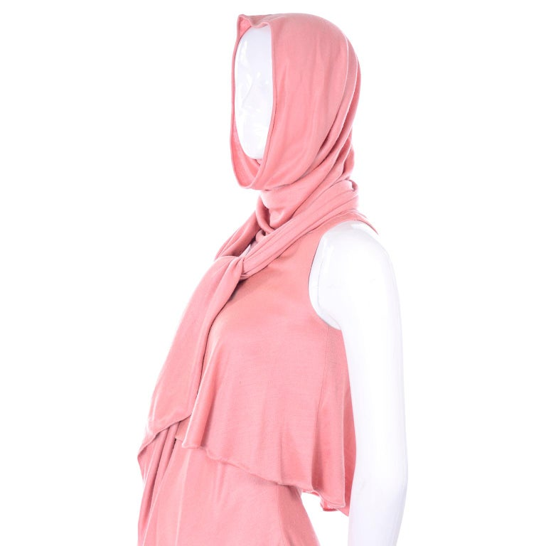 Adri Mary Adrienne Steckling Coen Vintage Coral Pink Outfit W Pants Top & Scarf For Sale 5