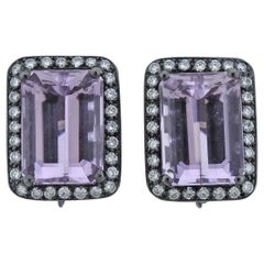 Adria de Haume 24 Carat Kunzite Diamond Gold Earrings