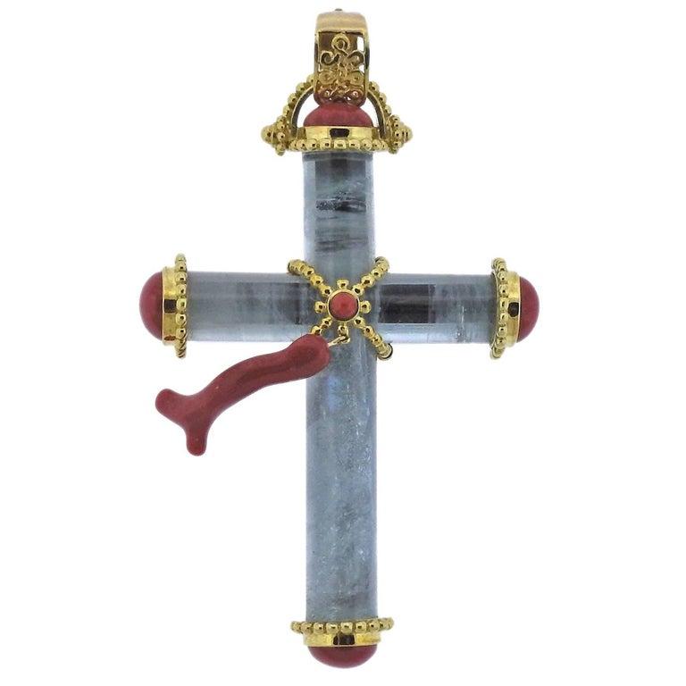 Adria de Haume Coral Aquamarine Gold Cross Pendant