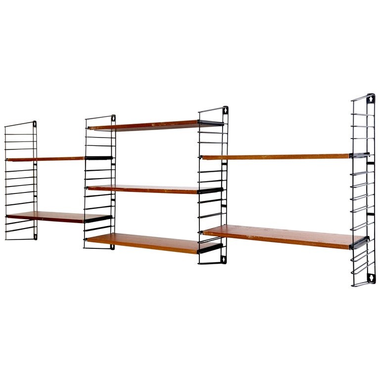 Metal Adriaan Dekker for Tomado Three Modular Wall Hanging Shelves, 1958 For Sale