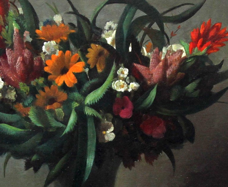 Floral Arrangement - Dutch 1920's Art Deco still life oil painting flowers  For Sale 1