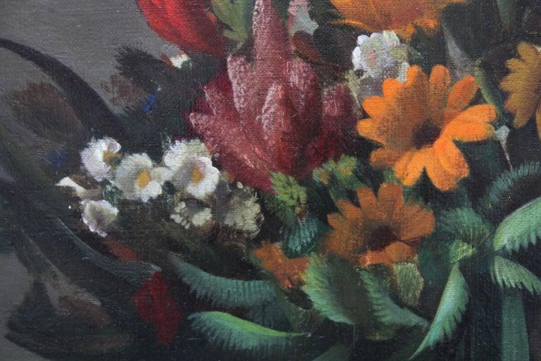 Floral Arrangement - Dutch 1920's Art Deco still life oil painting flowers  For Sale 2