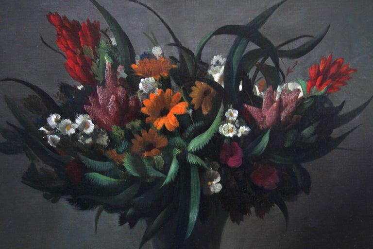 Floral Arrangement - Dutch 1920's Art Deco still life oil painting flowers  For Sale 3