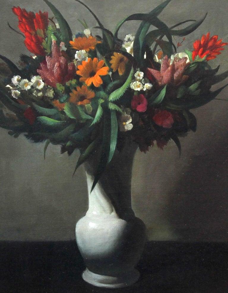 Floral Arrangement - Dutch 1920's Art Deco still life oil painting flowers  For Sale 5
