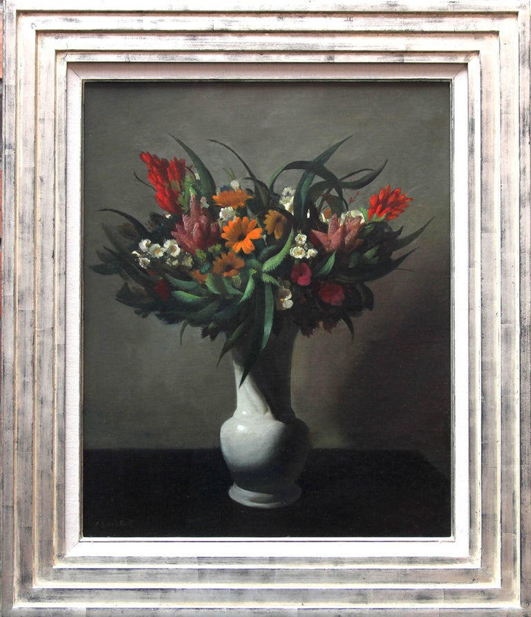 Adriaan Johannes van't Hoff Still-Life Painting - Floral Arrangement - Dutch 1920's Art Deco still life oil painting flowers