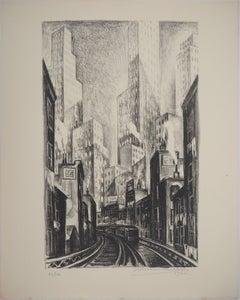 New York City, The El at Chatham Square - Original lithograph , Handsigned / 100