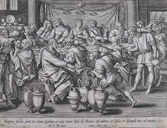 Adrian Collaert 17th Century Engraving Wedding at Cana Martin de Vos