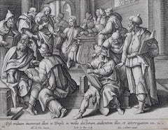 Adrian Collaert 17th C. engraving Christ in the Temple with the Doctors de Vos