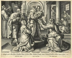 Adrian Collaert 17th Century engraving Martin de Vos The Presentation of Christ