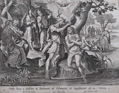 Adrian Collaert 17th Century The Baptism of Christ Engraving Martin de Vos