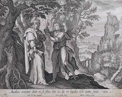 Adrian Collaert 17th Century The Temptation of Christ Engraving Martin de Vos