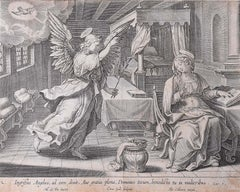 Adrian Collaert Martin de Vos 17th Century Engraving Annunciation of Our Lady
