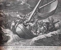 Adrian Collaert Martin de Vos 17th Century engraving Christ Calms the Storm