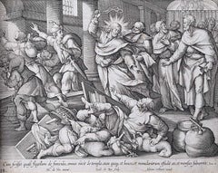 Adrian Collaert Martin de Vos 17th Century engraving Christ Cleansing the Temple