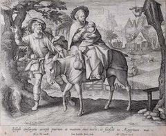 Adrian Collaert Martin de Vos 17th Century Engraving Flight into Egypt print